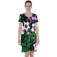 Pink Flowers Over A Green Grass Short Sleeve Nightdress
