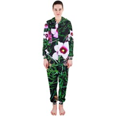 Pink Flowers Over A Green Grass Hooded Jumpsuit (ladies)