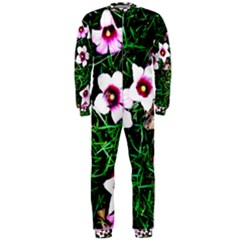 Pink Flowers Over A Green Grass Onepiece Jumpsuit (men)