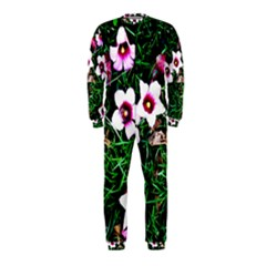 Pink Flowers Over A Green Grass Onepiece Jumpsuit (kids)