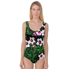 Pink Flowers Over A Green Grass Princess Tank Leotard