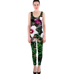 Pink Flowers Over A Green Grass Onepiece Catsuit