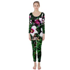 Pink Flowers Over A Green Grass Long Sleeve Catsuit by DanaeStudio