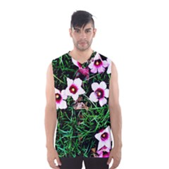 Pink Flowers Over A Green Grass Men s Basketball Tank Top