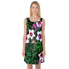 Pink Flowers Over A Green Grass Sleeveless Satin Nightdress