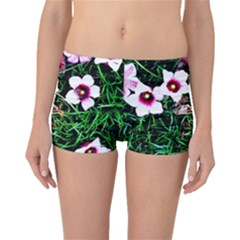 Pink Flowers Over A Green Grass Boyleg Bikini Bottoms