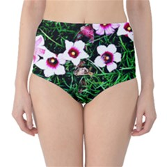 Pink Flowers Over A Green Grass High Waist Bikini Bottoms