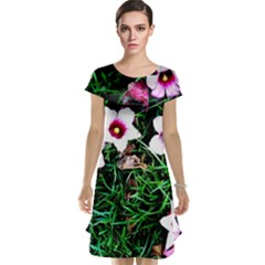 Pink Flowers Over A Green Grass Cap Sleeve Nightdress
