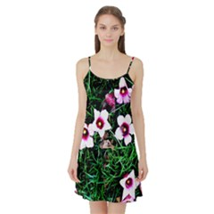 Pink Flowers Over A Green Grass Satin Night Slip