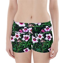 Pink Flowers Over A Green Grass Boyleg Bikini Wrap Bottoms