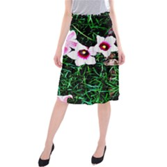 Pink Flowers Over A Green Grass Midi Beach Skirt
