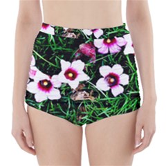 Pink Flowers Over A Green Grass High Waisted Bikini Bottoms
