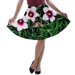 Pink Flowers Over A Green Grass A Line Skater Skirt