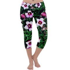 Pink Flowers Over A Green Grass Capri Yoga Leggings