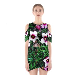 Pink Flowers Over A Green Grass Cutout Shoulder Dress