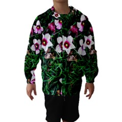 Pink Flowers Over A Green Grass Hooded Wind Breaker (kids)