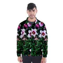 Pink Flowers Over A Green Grass Wind Breaker (men)