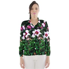 Pink Flowers Over A Green Grass Wind Breaker (women)