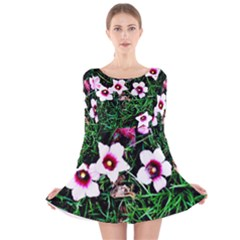 Pink Flowers Over A Green Grass Long Sleeve Velvet Skater Dress by DanaeStudio