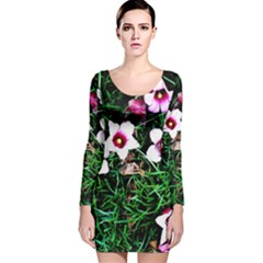Pink Flowers Over A Green Grass Long Sleeve Velvet Bodycon Dress by DanaeStudio