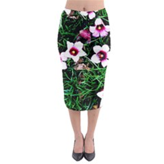 Pink Flowers Over A Green Grass Midi Pencil Skirt by DanaeStudio