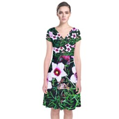 Pink Flowers Over A Green Grass Short Sleeve Front Wrap Dress