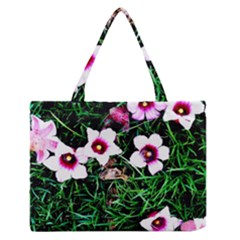 Pink Flowers Over A Green Grass Medium Zipper Tote Bag by DanaeStudio