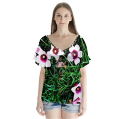 Pink Flowers Over A Green Grass Flutter Sleeve Top