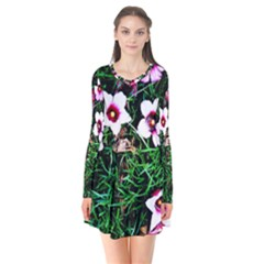 Pink Flowers Over A Green Grass Flare Dress by DanaeStudio
