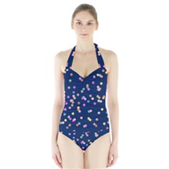 Playful Confetti Halter Swimsuit