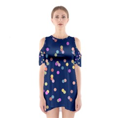 Playful Confetti Cutout Shoulder Dress
