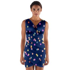 Playful Confetti Wrap Front Bodycon Dress