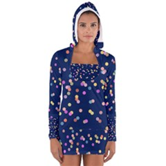 Playful Confetti Women s Long Sleeve Hooded T Shirt