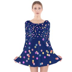 Playful Confetti Long Sleeve Velvet Skater Dress