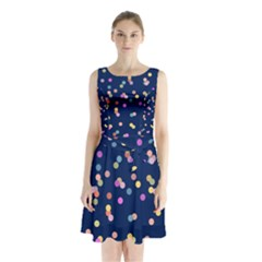Playful Confetti Sleeveless Chiffon Waist Tie Dress
