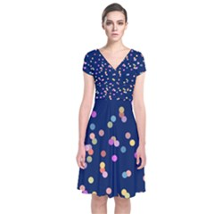 Playful Confetti Short Sleeve Front Wrap Dress