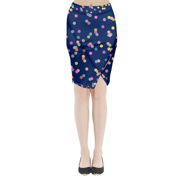 Playful Confetti Midi Wrap Pencil Skirt