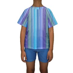 Provence Fields Lavender Pattern Kids  Short Sleeve Swimwear