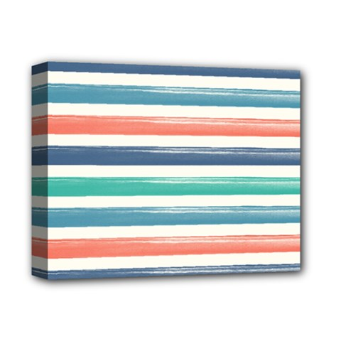 Summer Mood Striped Pattern Deluxe Canvas 14  X 11