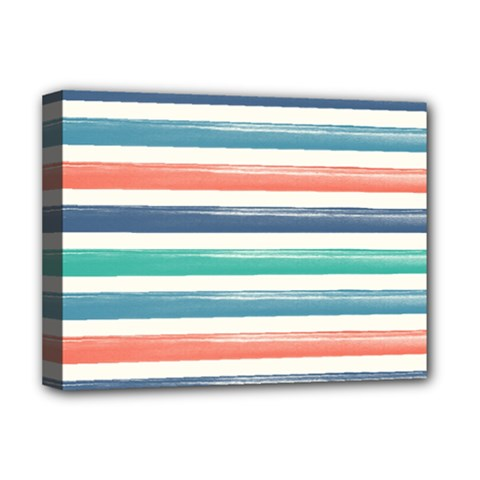 Summer Mood Striped Pattern Deluxe Canvas 16  X 12   by DanaeStudio