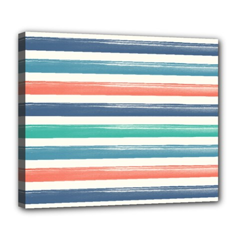 Summer Mood Striped Pattern Deluxe Canvas 24  X 20