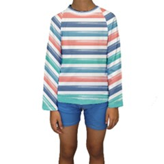 Summer Mood Striped Pattern Kids  Long Sleeve Swimwear