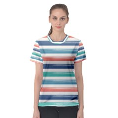 Summer Mood Striped Pattern Women s Sport Mesh Tee