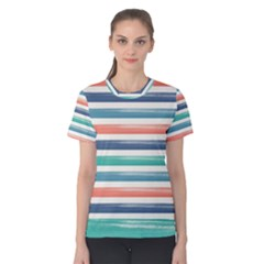 Summer Mood Striped Pattern Women s Cotton Tee