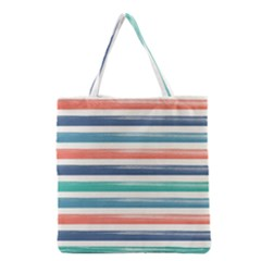 Summer Mood Striped Pattern Grocery Tote Bag