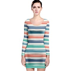 Summer Mood Striped Pattern Long Sleeve Bodycon Dress by DanaeStudio