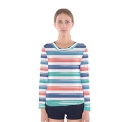 Summer Mood Striped Pattern Women s Long Sleeve Tee