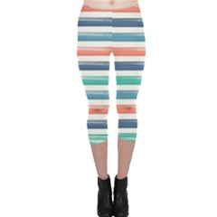 Summer Mood Striped Pattern Capri Leggings