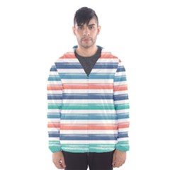 Summer Mood Striped Pattern Hooded Wind Breaker (men)