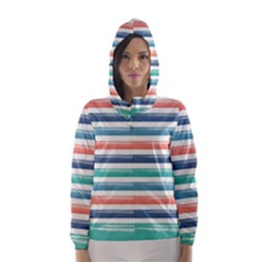 Summer Mood Striped Pattern Hooded Wind Breaker (women)